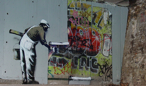 apple wallpaper graffiti. Banksy wallpaper graffiti by