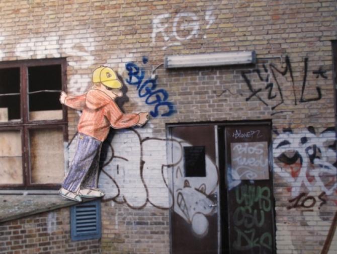 Foto fra kunsten.nu - HuskMitNavn, Uden titel, fotocollage (34x45 cm). Pressefoto