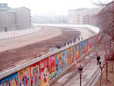 Berlin Wall - view from West Berlin - death strip & graffiti